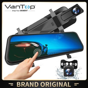 "VanTop HF10MQ 10"" 2.5K Mirror Dash Cam for Cars Full Touch Screen Waterproof Backup Parking Monitor Rear View Mirror Camera"