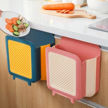 Wall-mounted folding trash can Household living room kitchen dry and wet garbage sorting bins Kitchen trash Bin